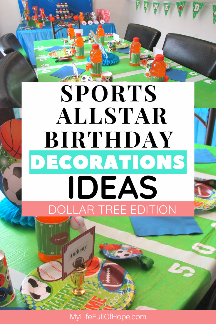 Sports Allstar birthday party theme ideas even for a baby shower. With items from the Dollar Tree budget edition