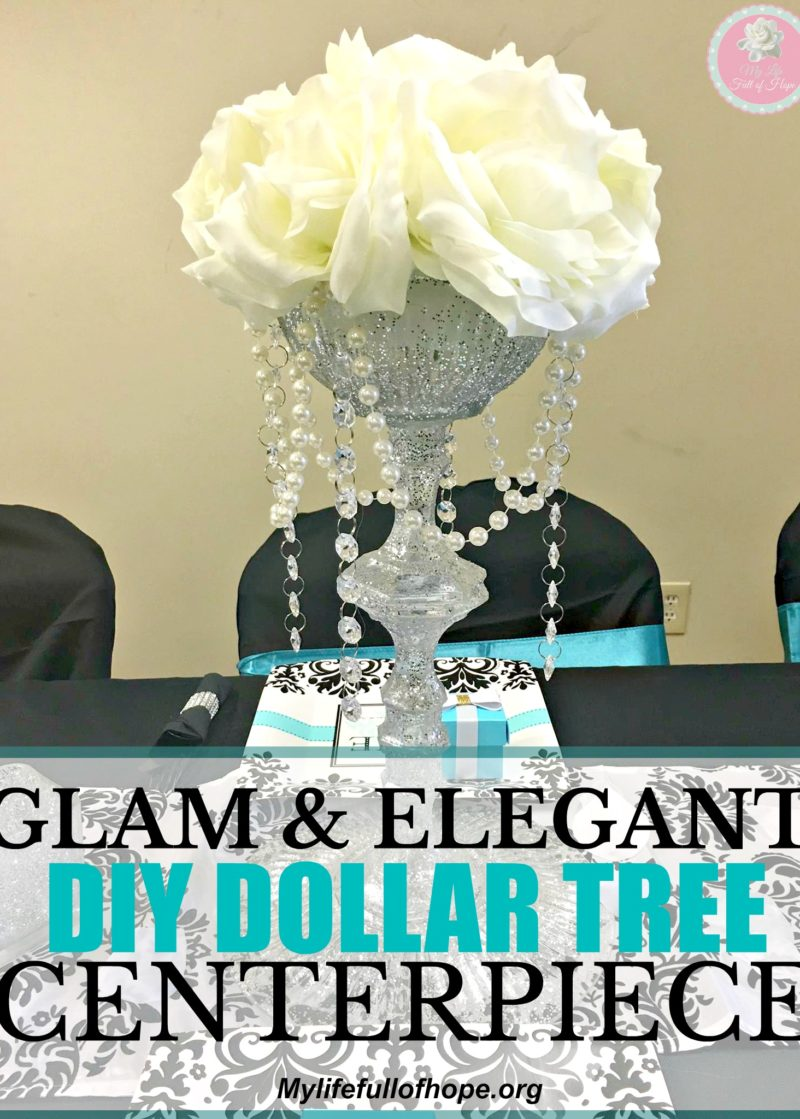 Dollar Tree Glam and Elegant Centerpiece on a budget | Great for weddings, bridal showers, anniversary celebrations. Tiffany theme