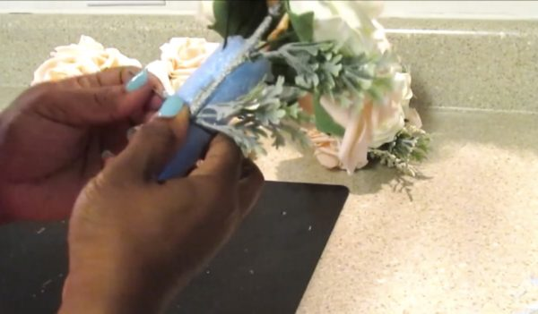 Afforable DIY bridesmaid bouquet with pool noodle