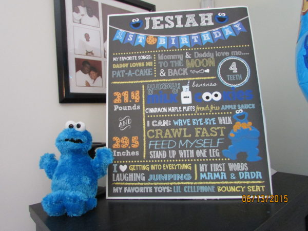 Cookie Monster Birthday Party Etsy 1st Birthday Stats Chart