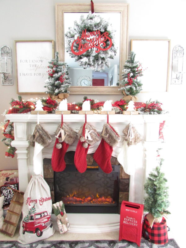 Christmas Mantel.Tips For Creating A Simple Rustic Christmas Mantel
