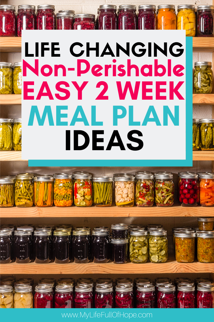 Meal plan ideas using non perishable canned good foods that you can have on hand in case of a emergency and build your stockpile.
