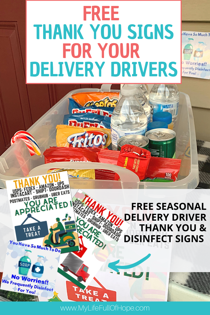 Delivery Drivers Thank you signs and treats for workers