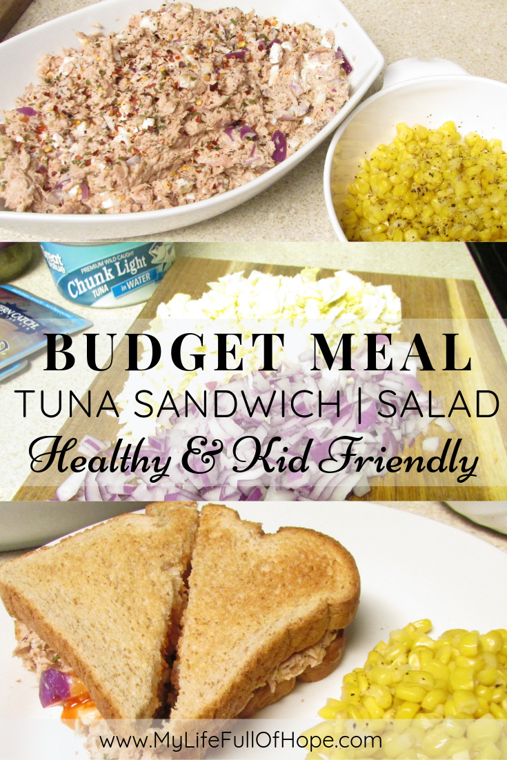 Tuna sandwich or tuna salad budget meal for family's that is healthy and kid friendly