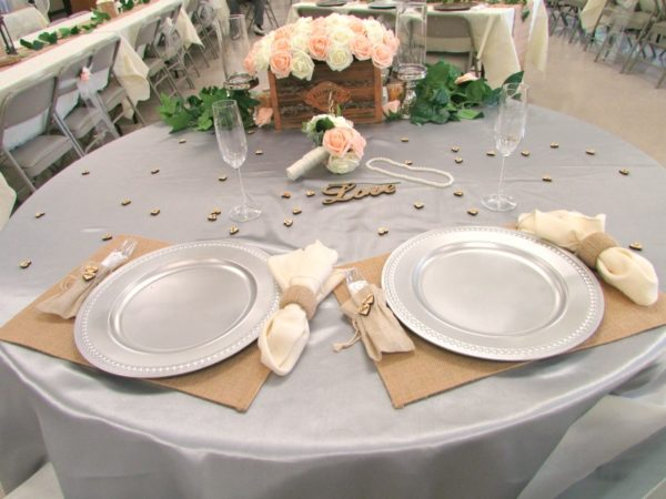 Rustic Wedding table setting for Bride and Groom